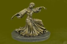 VINTAGE LARGE ART DECO DANCER DIMITRI CHIPARUS BRONZE SCULPTURE SIGNED FIGURE NR