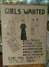 Vintage poster  Girls Wanted circa 1940's nun recruitment