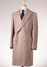 NWT $4995 D'AVENZA Oatmeal Herringbone Cashmere-Silk Overcoat Slim 40 R Coat