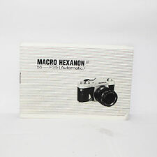 Macro Hexanon AR 55mm F3.5 Lens Instruction Manual User Guide n O31339