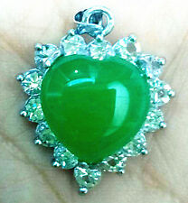 Jewelry Green Jade Heart Shape Silver Crystal emerald Pendant /necklace