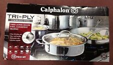 NEW-Calphalon TRI-PLY STAINLESS STEEL 13 piece Cookware Set
