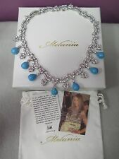 MELANIA TRUMP TURQUOISE DROP & CRYSTAL NECKLACE IN SILVERTONE NEW IN BOX