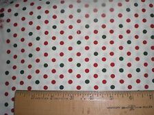 "Fabric-""Be Jolly"" by Moda -- Red and Green Polka Dots on Cream -- Stunnning:"