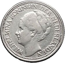 1928 Netherlands Queen WILHELMINA 28 Cents Wreath Authentic Silver Coin i49120