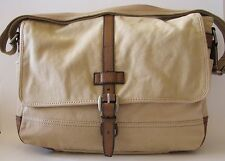 NEW-FOSSIL EMERSON EW MESSENGER DARK KHAKI CANVAS,LEATHER LAPTOP+CROSSBODY BAG