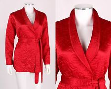 GUMP'S INDUSTRIE B RED QUILTED SILK SATIN SHORT ROBE BED JACKET SZ M