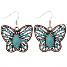 Elegant Hollow Butterfly Carve Blue Crystal WaterDrop Turquoise Dangle Earrings
