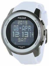 Pulsar By Seiko PQ2015 Digital White Rubber Strap Sport Men's Watch