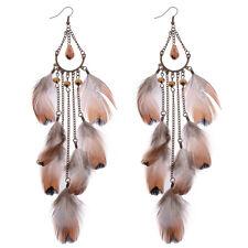 New Vintage Bohemian Boho Brown Feather Chain Long Tassel Women Dangle Earrings