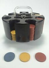 Vintage Set of Clay Casino Poker Chips in Round Carousel NOT COMPLETE