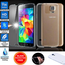TPU Gel Ultra Thin Clear Skin Case Cover+ 2xTempered Glass for Samsung Galaxy S5