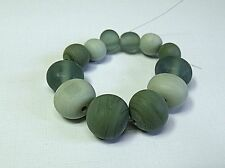 "HANDMADE LAMPWORK PEBBLE  BEADS, ""SAGE"""