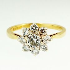 Gold on Silver Simulated Diamond Daisy Cluster Ring (Size L 1/2) 10mm Diameter