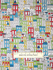 Neighborhood City Town Buildings Cotton Fabric By The Yard Robert Kaufman Uptown