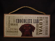 """CHOCOLATE LAB Subway Style Dog SIGN 5"""" X 10"""" wood WALL PLAQUE Brown LABRADOR new"""