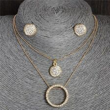 GOLD PLATED NECKLACE EARRINGS CIRCLE SET MADE WITH SWAROVSKI CRYSTALS A