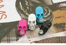 Qty 2 Pairs of Retro Punk Gothic Skull Different Colours Stud Earrings UK Seller