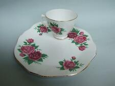 ROYAL VALE TENNIS SET BONE CHINA MADE IN ENGLAND ROSE PATTERN WITH GOLD RIM
