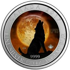 2017 WOLF MOON 3/4 Oz SILVER COLOR MINTAGE 100 PCS WITH BOX & COA.