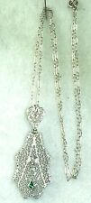 1920'S ANTIQUE ART DECO 14K WHITE GOLD FILIGREE EMERALD DIAMOND NECKLACE