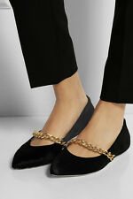 SIMONE ROCHA $885 black pony hair fur flats pointed toe chain strap shoes 39 NEW