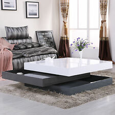 High Gloss Square Storage Rotating Coffee Table w/3 Layers Living Room Furniture