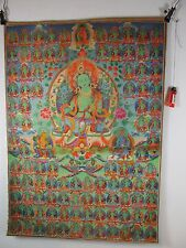 altes original Buddha Thangka GRÜNE TARA Seide Tibet ca. 1960  90cm