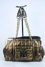 LUELLA metallic antique bronze gold leather chain strap shoulder bag
