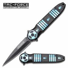 Couteau Nuclear Skull & Croosbones Spring Assisted Spike Knife Blue 20 cm open