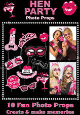 HEN PARTY 10 PHOTO BOOTH PROPS Girls Night Out Wedding Accessories (PHOTO-HP)