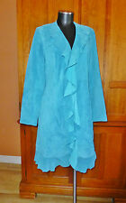 SCULLY Turquoise 100% Real LEATHER Suede Ruffle Western Rodeo JACKET Pea COAT M