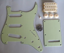Mint Green Guitar ST Strat SSS Pickguard with Aged White Pickup Covers Knobs Tip