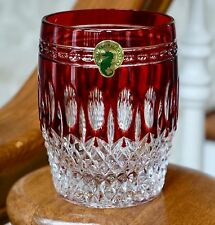 WATERFORD CLARENDON DOF ROCKS GLASS, RUBY RED CASED CRYSTAL, NEW!