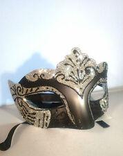 SILVER FILIGREE Occhi Maschera-Masquerade sfera Costume Partito mardis Gras-Nero