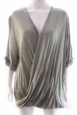 Seed Heritage Khaki Green Cropped Sleeve Drape Crossover Shirt Blouse Top Sz 12