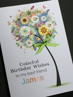 LARGE Handmade Personalised COLOUR TREE Birthday Card16th 21st 20th 30th 40th..