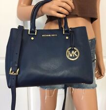 MICHAEL KORS NAVY BLUE MEDIUM LEATHER TOTE CROSSBODY BAG PURSE NEW HARD TO FIND
