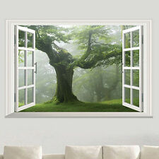 OLD FOREST TREE 3D WINDOW VIEW LIVING ROOM WALL STICKER HOME DIY DECAL RETRO