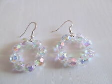 IMITATION ROUND CRYSTAL EARRINGS WITH SILVER PLATE WIRES HANDMADE