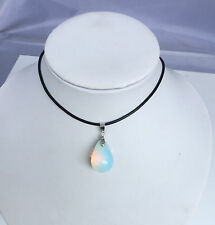 lady Opalite Opal Crystal Quartz Genuine Leather Necklace Teardrop Pendant 45CM