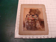 vintage early SCRAPE BOOK PAGE double sided - small kids in basket & rose - wear
