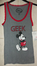 """NWT WOMENS JUNIORS Disney Mickey Mouse """"GEEK"""" HEATHER GRAY TANK TOP SIZE S (3/5)"""