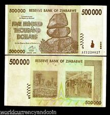 ZIMBABWE 500,000 500000 DOLLARS P76 2008 USED HALF MILLION CURRENCY MONEY NOTE