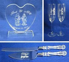 Mickey Minnie Mouse Wedding Glasses knife server cake topper set engraved FREE