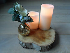 "Rustic Wedding table decoration centre piece silver birch wood log appx 8-9"" x2"""