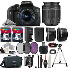 Canon EOS Rebel 750D /T6i Camera + 18-55mm IS STM Lens + 64GB -3 Lens Kit Bundle
