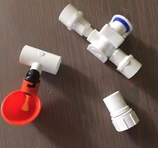 4 Cups + Chicken Water Pressure Reducer System + PVC Tees + Hose Adapter Poultry