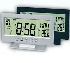 Digitale LCD allarme snooze tavolo controllo vocale RETRO-LIGHT OROLOGIO DATA ORA thermomet
