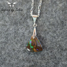 Inspired by Selena Boulder Opal Necklace Sterling Silver Pendant Fire 5.5 ct #1